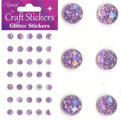 Eleganza Craft Stickers 8mm 35 Glitter gems Lavender No.45 - Craft