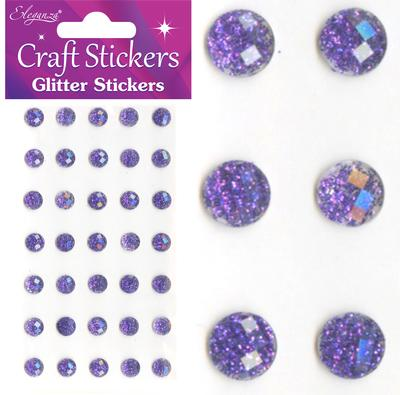 Eleganza Craft Stickers 8mm 35 Glitter gems Purple No.36 - Craft