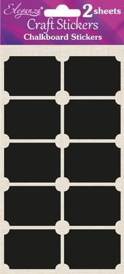 Eleganza Craft Chalkboard Stickers Rectangle 35mm x 50mm 20pcs Black - Craft
