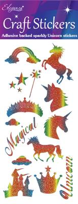 Eleganza Craft Stickers Unicorn Rainbow Glitter - Craft