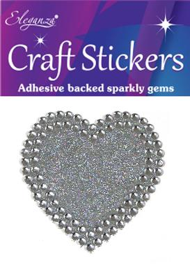 Eleganza Craft Stickers 50mm Solid heart with Diamante Silver No.24 - Craft