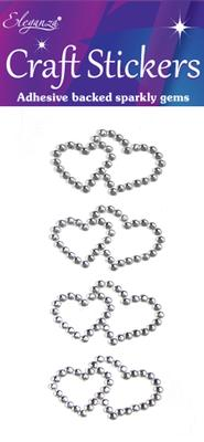 Eleganza Craft Stickers Diamante Double Open heart 4pcs Silver No.24 - Craft