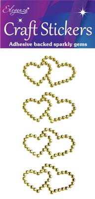 Eleganza Craft Stickers Diamante Double Open heart 4pcs Gold No.35 - Craft