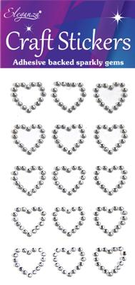 Eleganza Craft Stickers Diamante Open heart 15pcs Silver No.28 - Craft