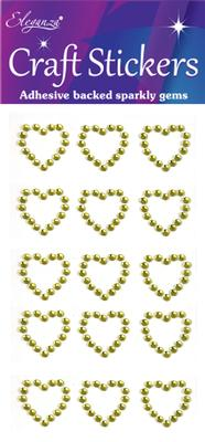 Eleganza Craft Stickers Diamante Open heart 15pcs Gold No.35 - Craft