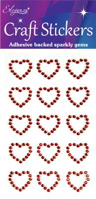 Eleganza Craft Stickers Diamante Open heart 15pcs Red No.16 - Craft