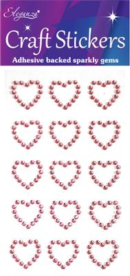 Eleganza Craft Stickers Diamante Open heart 15pcs Lt. Pink No.21 - Craft
