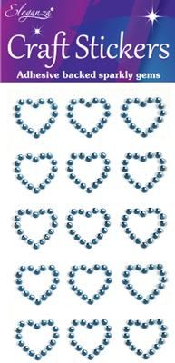 Eleganza Craft Stickers Diamante Open heart 15pcs Lt. Blue No.25 - Craft