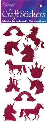 Eleganza Craft Stickers Glitter Unicorn set Fuchsia No.28 - Craft