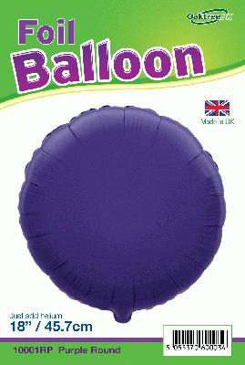 18inch Purple Round Packaged - Foil Balloons