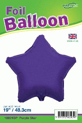 19inch Purple Star Packaged - Foil Balloons