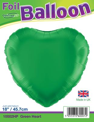 18inch Green Hearts Packaged - Foil Balloons