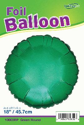 18inch Green Round Packaged - Foil Balloons