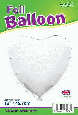 18inch White Heart Packaged - Foil Balloons