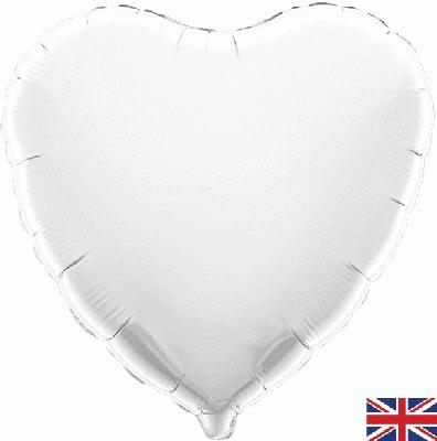 White Heart Unpackaged - Foil Balloons