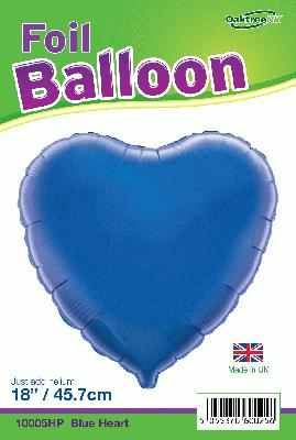 18inch Blue Heart Packaged - Foil Balloons