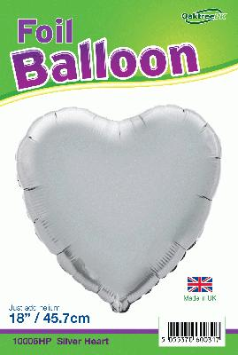 18inch Silver Heart Packaged - Foil Balloons