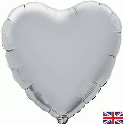 Silver Heart Unpackaged - Foil Balloons