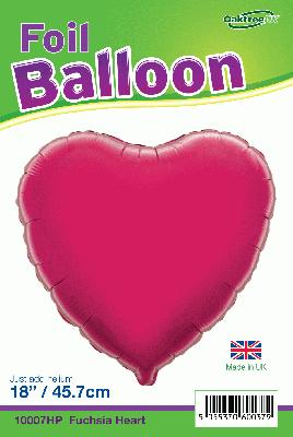 18inch Fuchsia Heart Packaged - Foil Balloons