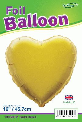 18inch Gold Heart Packaged - Foil Balloons