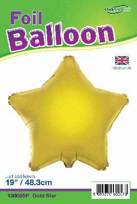 19inch Gold Star Packaged - Foil Balloons