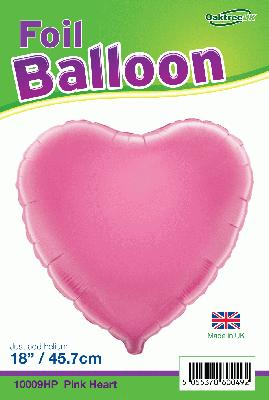 18inch Pink Heart Packaged - Foil Balloons