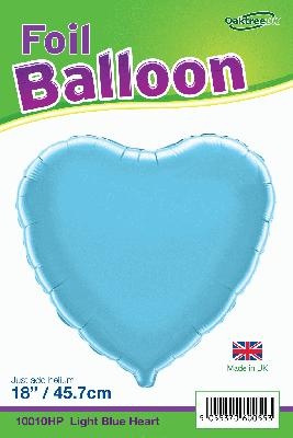 18inch Light Blue Heart Packaged - Foil Balloons