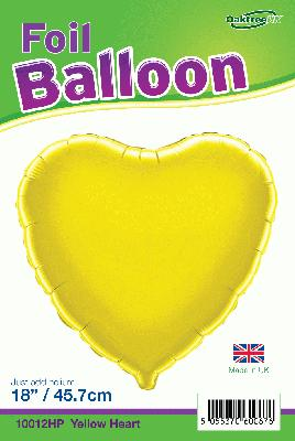 18inch Yellow Heart Packaged - Foil Balloons