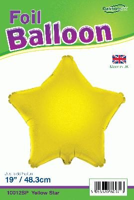 19inch Yellow Star Packaged - Foil Balloons