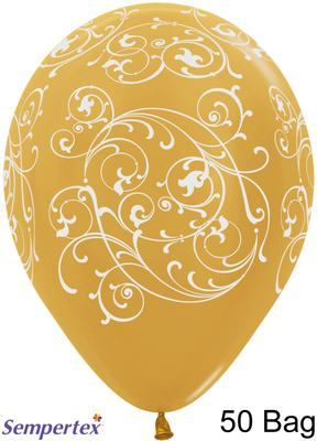 11inch Filigree Metallic Gold x 50 - Latex Balloons