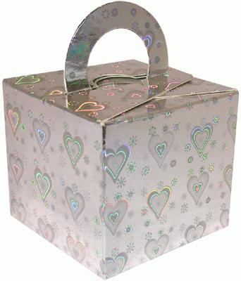 Balloon/Gift Box Silver Holographic Heart x10pcs - Accessories