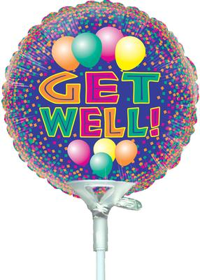 4inch Get Well Bright - Foil Balloons