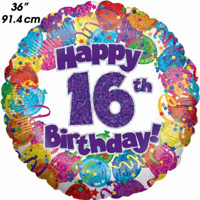 16th Party Birthday Holographic 36inch - Foil Balloons