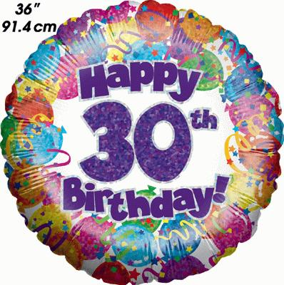 30th Party Birthday Holographic 36inch - Foil Balloons