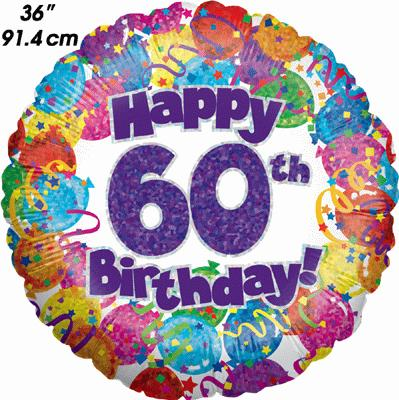 60th Party Birthday Holographic 36inch - Foil Balloons