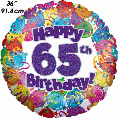 65th Party Birthday Holographic 36inch - Foil Balloons