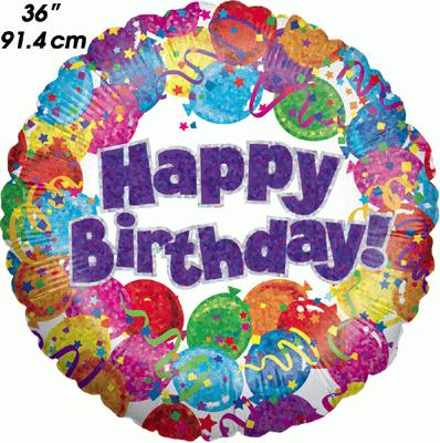 Party Happy Birthday Holographic 36inch - Foil Balloons