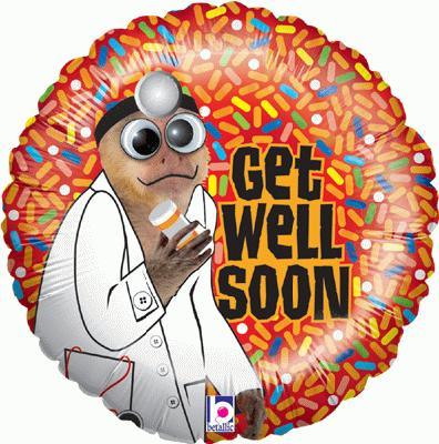 Get Well Monkey - Foil Balloons
