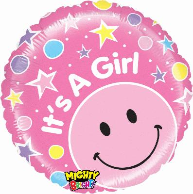 Mighty Smiley Girl - Foil Balloons
