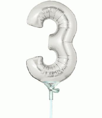Megaloon Jrs 7inch Number 3 Silver Air Filled - Foil Balloons