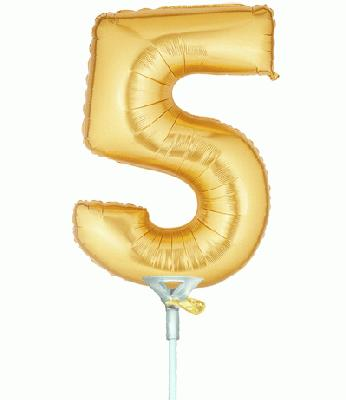 Megaloon Jrs 7inch Number 5 Gold Air Filled - Foil Balloons