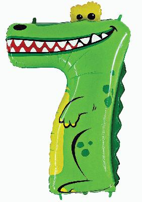 "Zooloon™ 40"" Number 7 Crocodile - Foil Balloons"