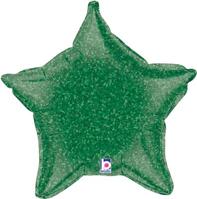 Betallic 21inch Green Holographic Star Packaged - Foil Balloons