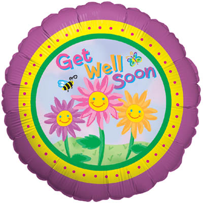 Happy Flowers Get Well - Foil Balloons