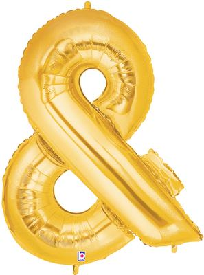 Megaloon 40inch & Ampersand Gold - Foil Balloons