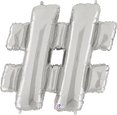 Megaloon 40inch Hashtag Silver - Foil Balloons