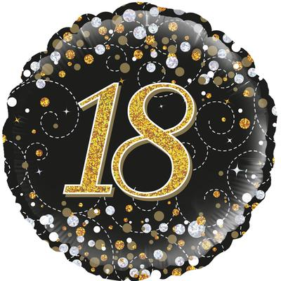 Oaktree 18inch 18th Sparkling Fizz Birthday Black & Gold Holographic - Foil Balloons