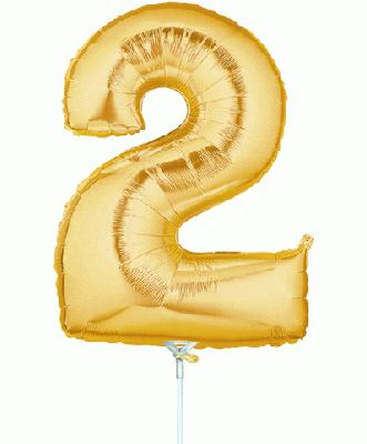 Megaloon Jrs 14inch Number 2 Gold packaged - Foil Balloons
