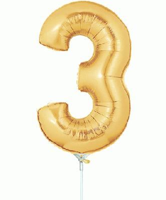 Megaloon Jrs 14inch Number 3 Gold packaged - Foil Balloons