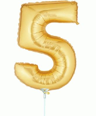 Megaloon Jrs 14inch Number 5 Gold packaged - Foil Balloons